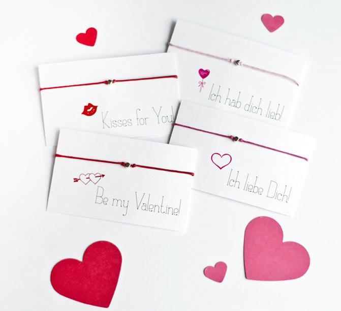 Valentinskärtchen für Freundschaftsbänder
