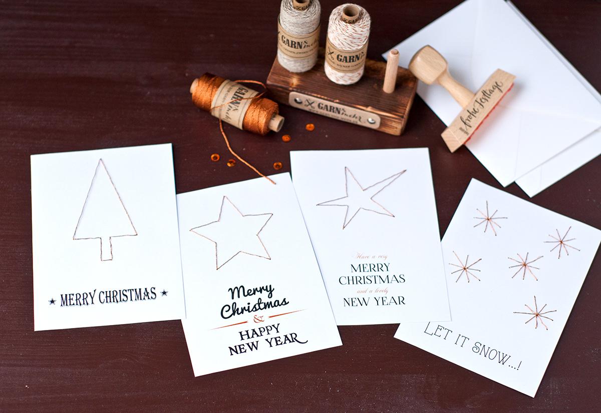 Weihnachtskarten DIY mit Kupfergarn und Vorlagen zum ausdrucken