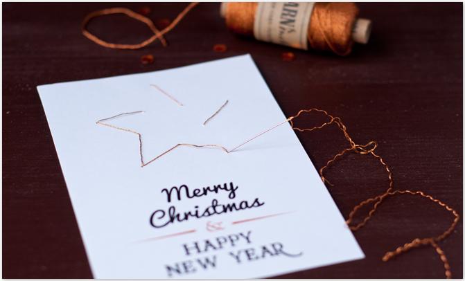 Selbstgemachte Weihnachtskarten mit gestickten Motiven