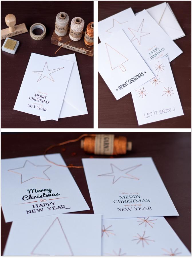 Weihnachtskarten DIY mit Kupfer