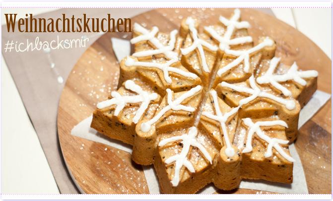 #ichbacksmir Weihnachtskuchen in Form eines Eiskristalls