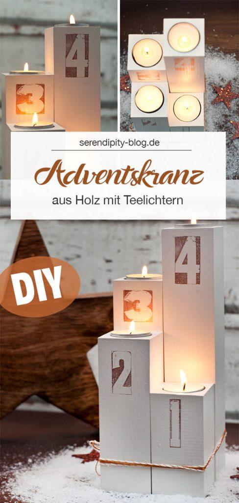 DIY-Adventskranz aus Holz