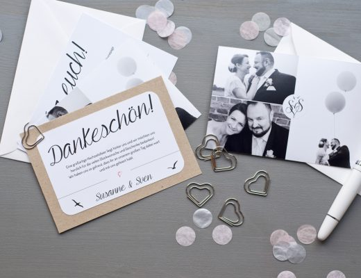 Dankeskarte Hochzeit mit Foto und Konfetti