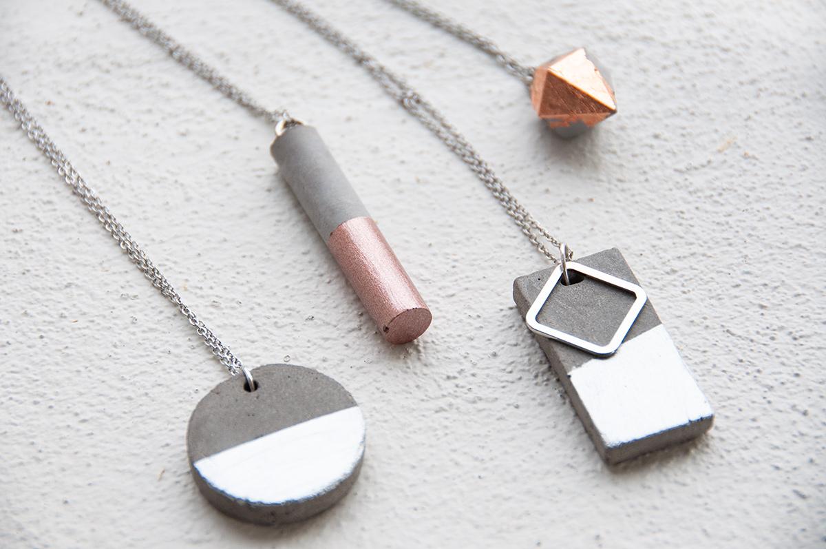 Beton-Schmuck mit Gold, Silber und Kupfer selbst herstellen