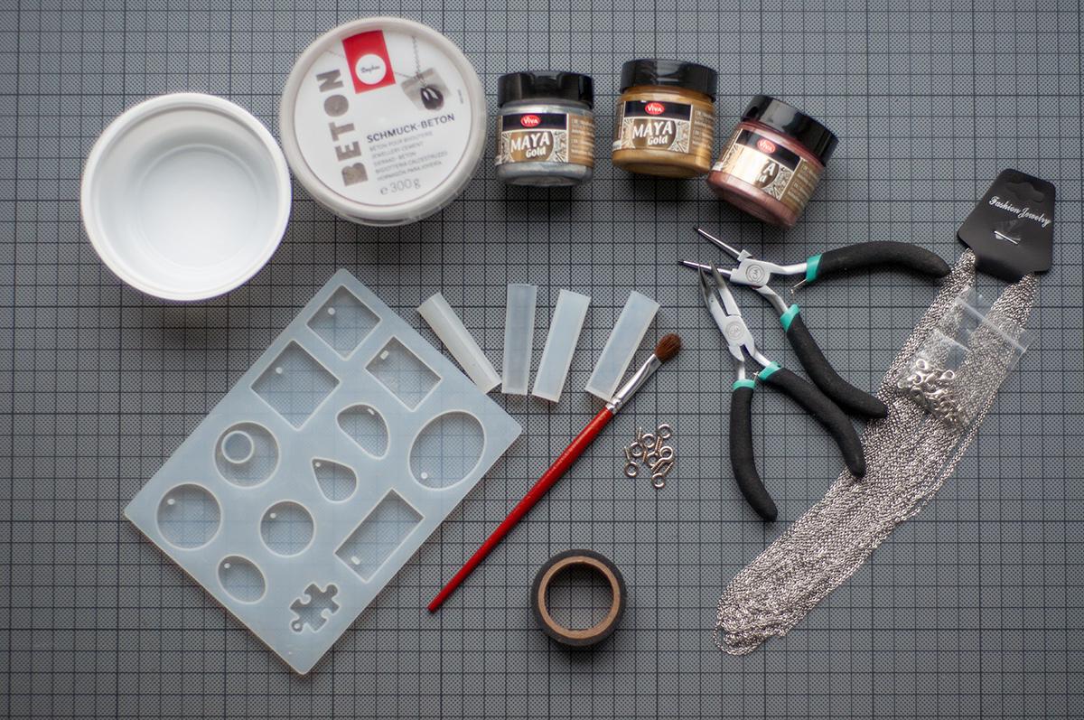 Beton Schmuck selbst herstellen Material